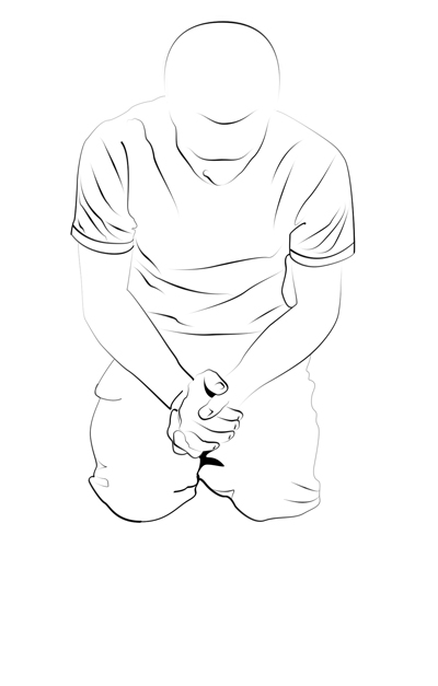 Line Art Person : Person kneeling drawing sketch coloring page
